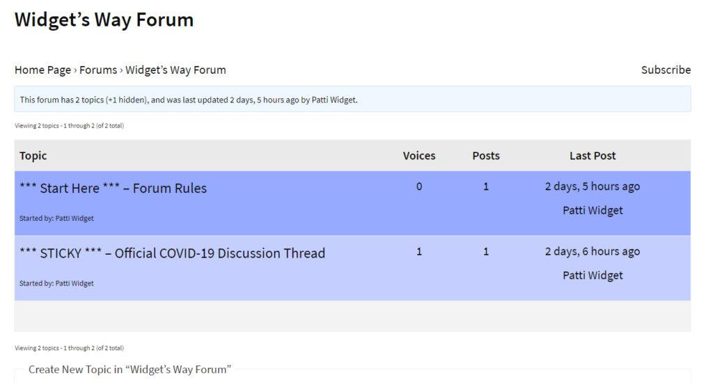 Widget's Way Forum