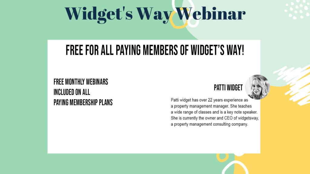Widgets Way Member Webinars